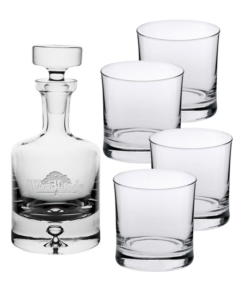 Saga 25 oz. Crystal Decanter & four 8oz. DOF glasses - Deep Etched Imprint