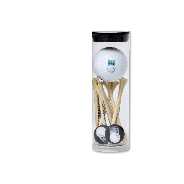 Tube Golf Ball Tee Packs (Titleist DT Solo/5 Tee/2 Marker/1 Divot & 1 Golf Ball - 1 Colour Imprint
