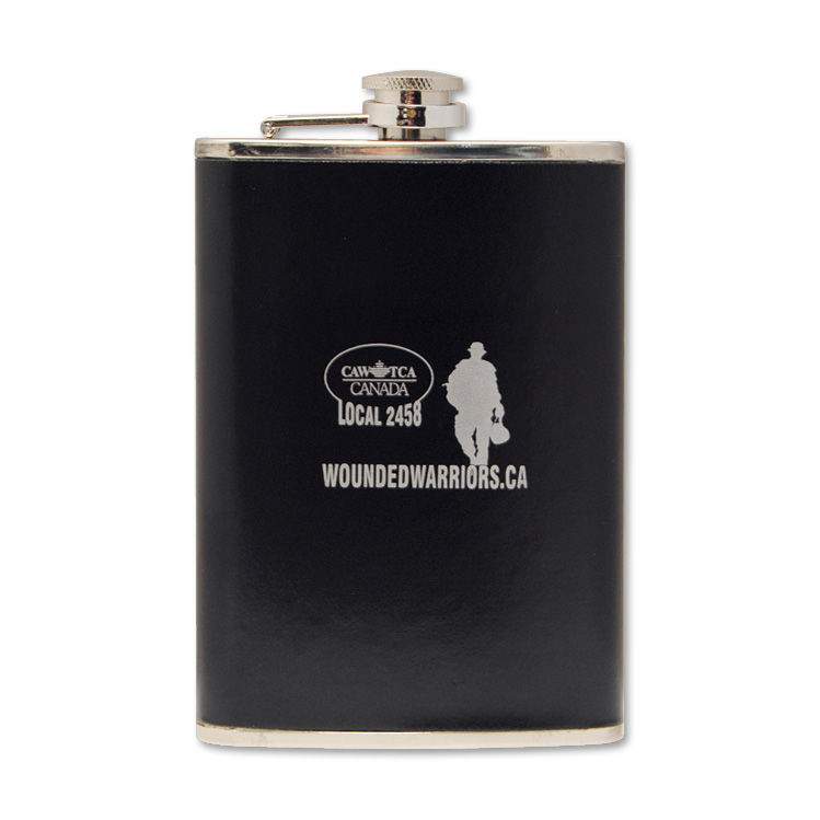 Flask with Genuine Leather Wrap - 1 Colour Imprint