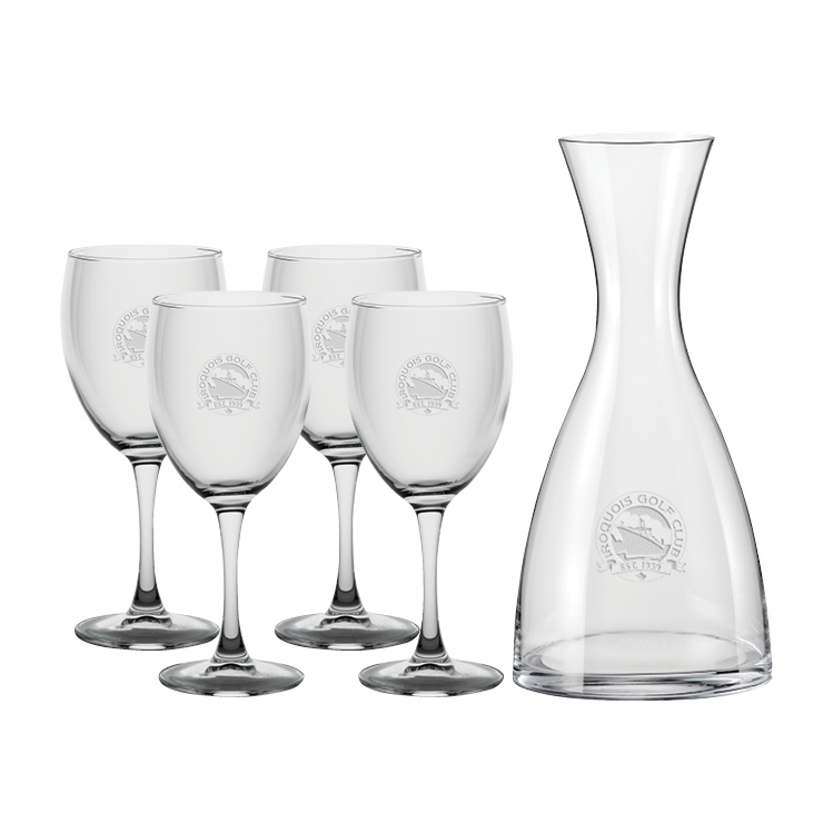 Niagara 1.2L Carafe with four Wine glasses - Deep Etched Imprint