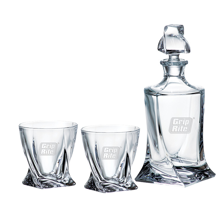 Quadro Decanter & two DOF - Deep Etched Imprint