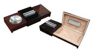 Custom Lacquer Brazilian Rosewood Sliding Ashtray w/ Humidor & Humidifier