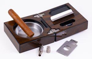 Custom High Gloss Walnut Folding Ashtray Set with Accessories