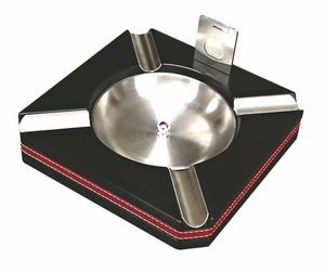 Custom 4 Cigar Wood Ashtray w/ Black Finish, Leather Trim & Cutter