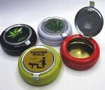 Custom Mini Round Tin Ashtray w/ Flip Lid (2.6