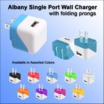 Custom Albany Single Port Wall Charger with Folding Prongs