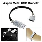 Custom Aspen Metal USB Bracelet Flash Drive - 128 MB Memory