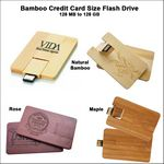 Custom Bamboo Credit Card Size Flash Drive - 4 GB Memory