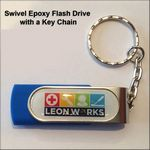 Custom Swivel Epoxy Flash Drive with Key Chain- 256 MB Memory