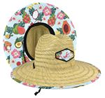 Lifeguard Straw Hat with full color imprint under the brim and front patch