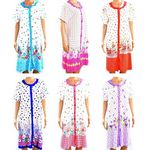 Custom Women's Button Up Short Sleeve Print Nightgowns - Sizes M-3XL