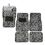 Custom Zebra Print Carpet Car Mat Set - 4 Piece
