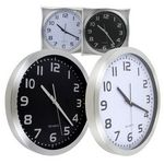 Custom 16 Aluminum Quartz Clock - Black / White