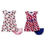 Custom Infant Girl's Knit Dresses with Panty Set - Multi Heart Print - Size 1
