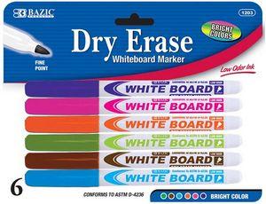 Custom BAZIC Bright Color Fine Tip Dry-Erase Marker (6/Pack)