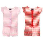 Custom Infant Girl's Stripe Print Knit Rompers - Size 12-24M