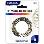 Custom Bazic 2 Metal Book Rings - 6 Pack