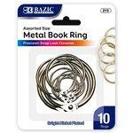 Custom Bazic Assorted Size Metal Book Rings - 10 Pack