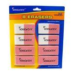 Erasers - Pink - 8 pack - Large beveled