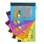 Custom Bazic Bright Color 3-Ring Pencil Pouch-Mesh Window