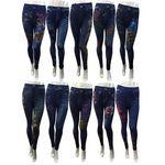 Custom Denim Leggings - Floral
