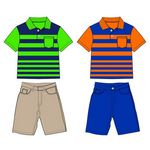 Custom Infant Boy's Shorts & Stripe Polo Shirt Set