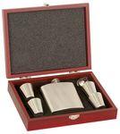 Custom Stainless Steel Flask Set in Rosewood Presentation Box