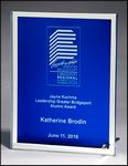 Custom Glass Plaque with Blue Center and Mirror Border, 6