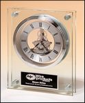 Custom Contemporary Styled Large Glass Clock with Silver Skeleton Movement