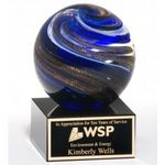 Custom Globe Art Glass on Black Glass Base 3 1/2