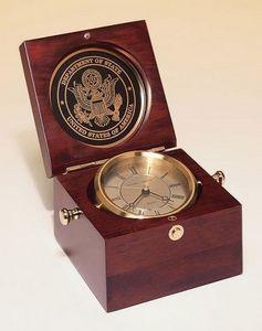 Captains Clock w/ Hand rubbed mahogany finish case 5 1/2 W x 3 3/4 H