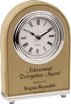 Custom Arch Desk Clock, Light Brown Faux Leather