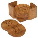 Custom Bamboo Round 6 Coaster Set with Holder, 3 3/4