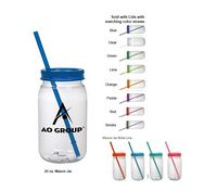25 Oz. Mason Jar BPA Free PET w/Lids and Matching Straws