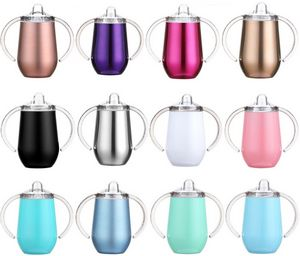 10oz Stainless Steel Vacuum Double Wall Insulated Cup Double Handles Tumbler