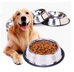 Custom Stainless Steel Dog Bowls With Rubber Base