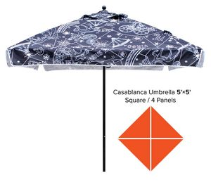 Custom Printed Square Market Umbrella 5x5 - Casablanca Line