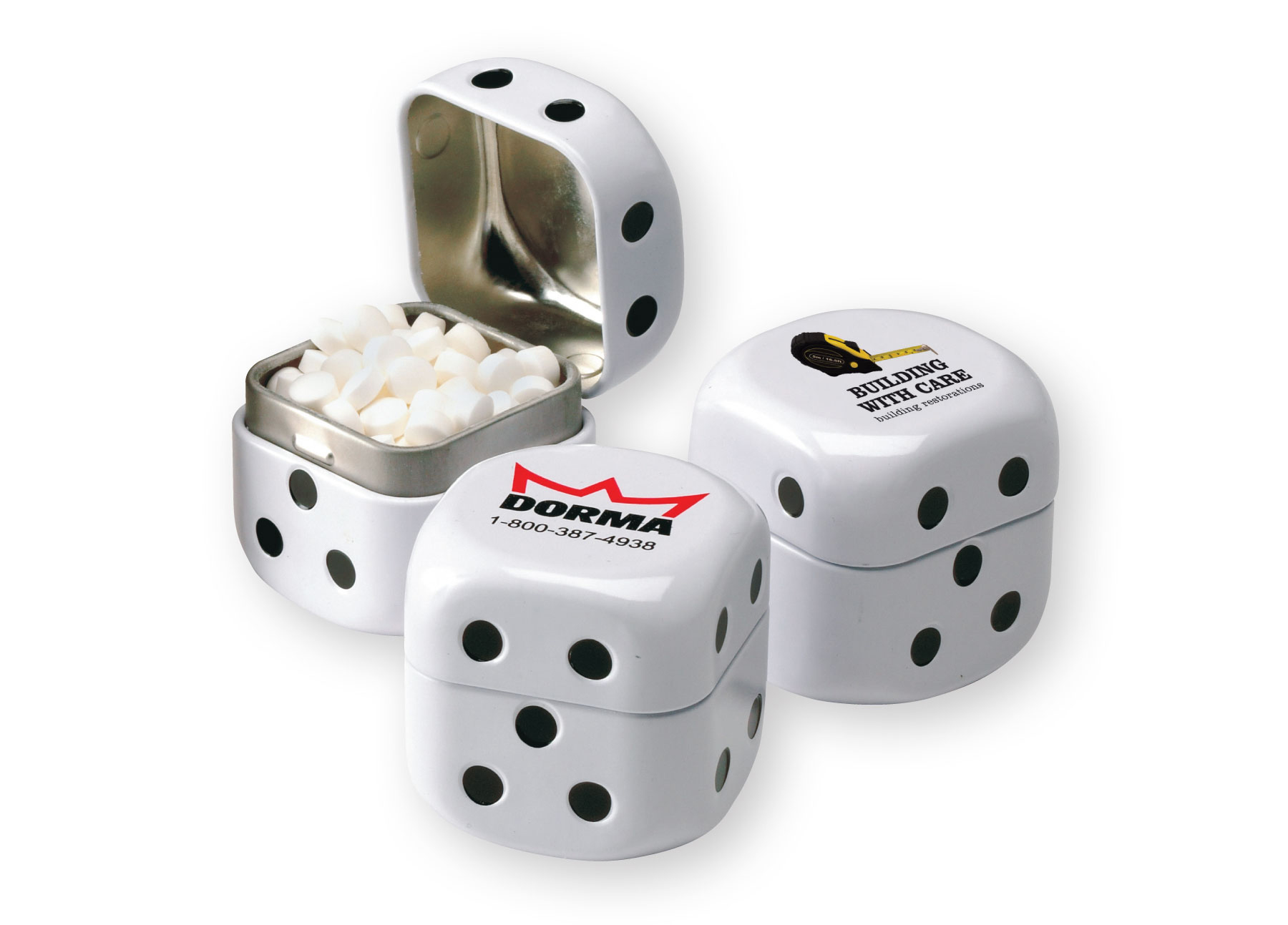 Roll the Dice Tin w/Sugar-Free MicroMints, 333-MICROMINTS, One Colour Imprint