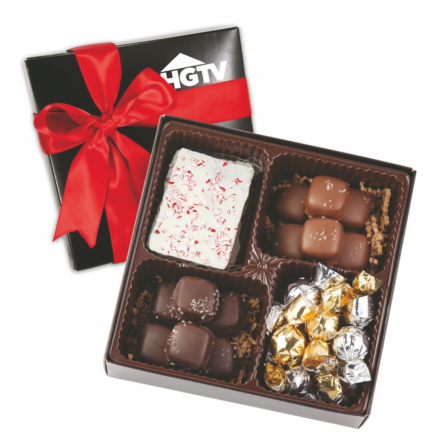 4 Delight Gift Box w/Holiday Confections, 4CGB-HC, One Colour Imprint