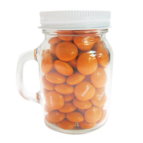3.25 Oz. Glass Mini Mason Jars w/Imprinted Chocolate Buttons, MMJ-CUBU, One Colour Imprint
