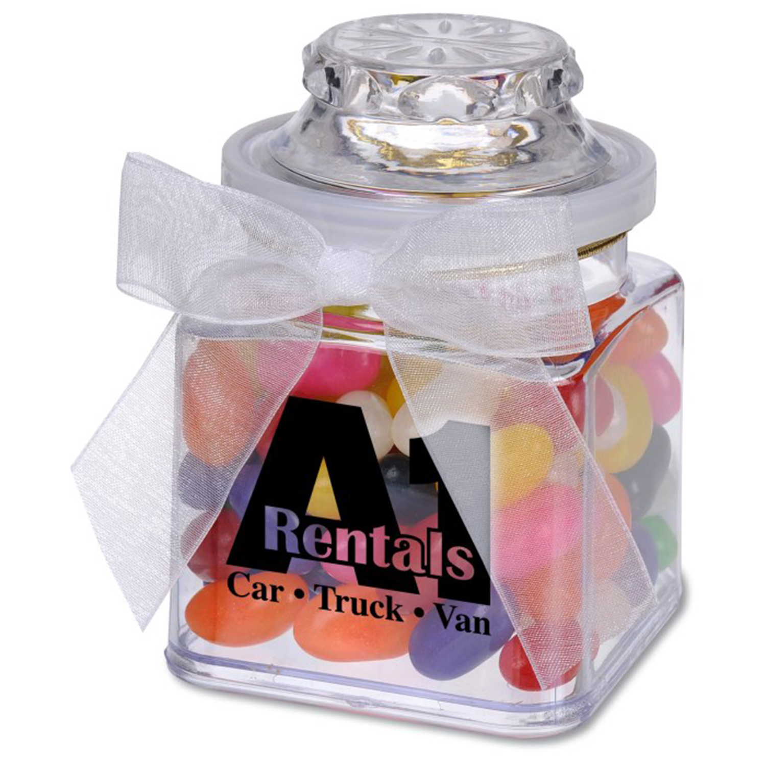 8 Oz. Plastic Jar w/ Assorted Regular Jelly Beans, P208-JEL, One Colour Imprint
