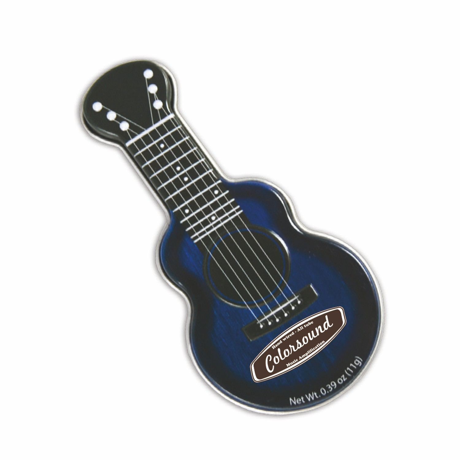 Dark Blue Acoustic Guitar Shaped Mint Tin, AGBL, One Colour Imprint