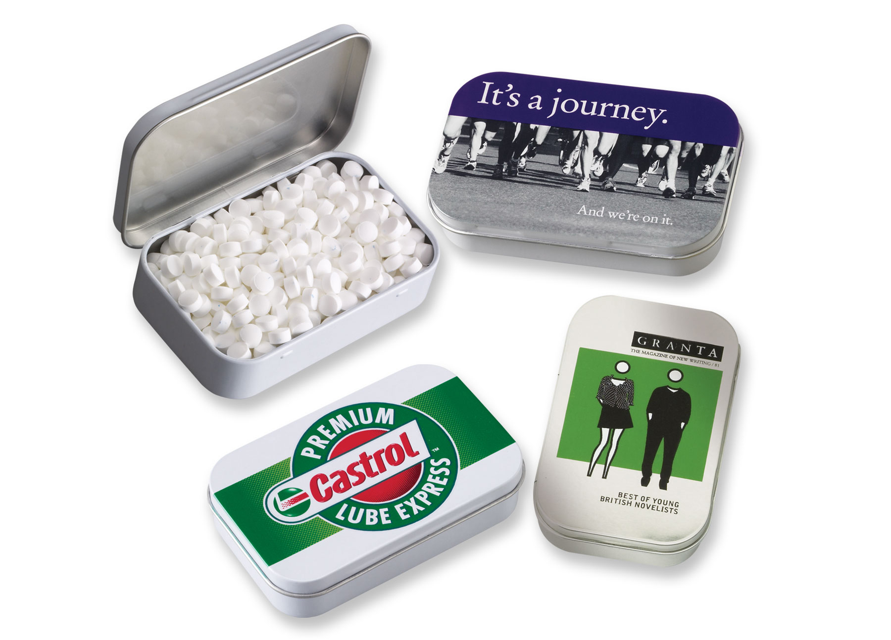 Rectangular Tin w/Sugar-Free MicroMints, 305-MICROMINTS, Full Colour Imprint
