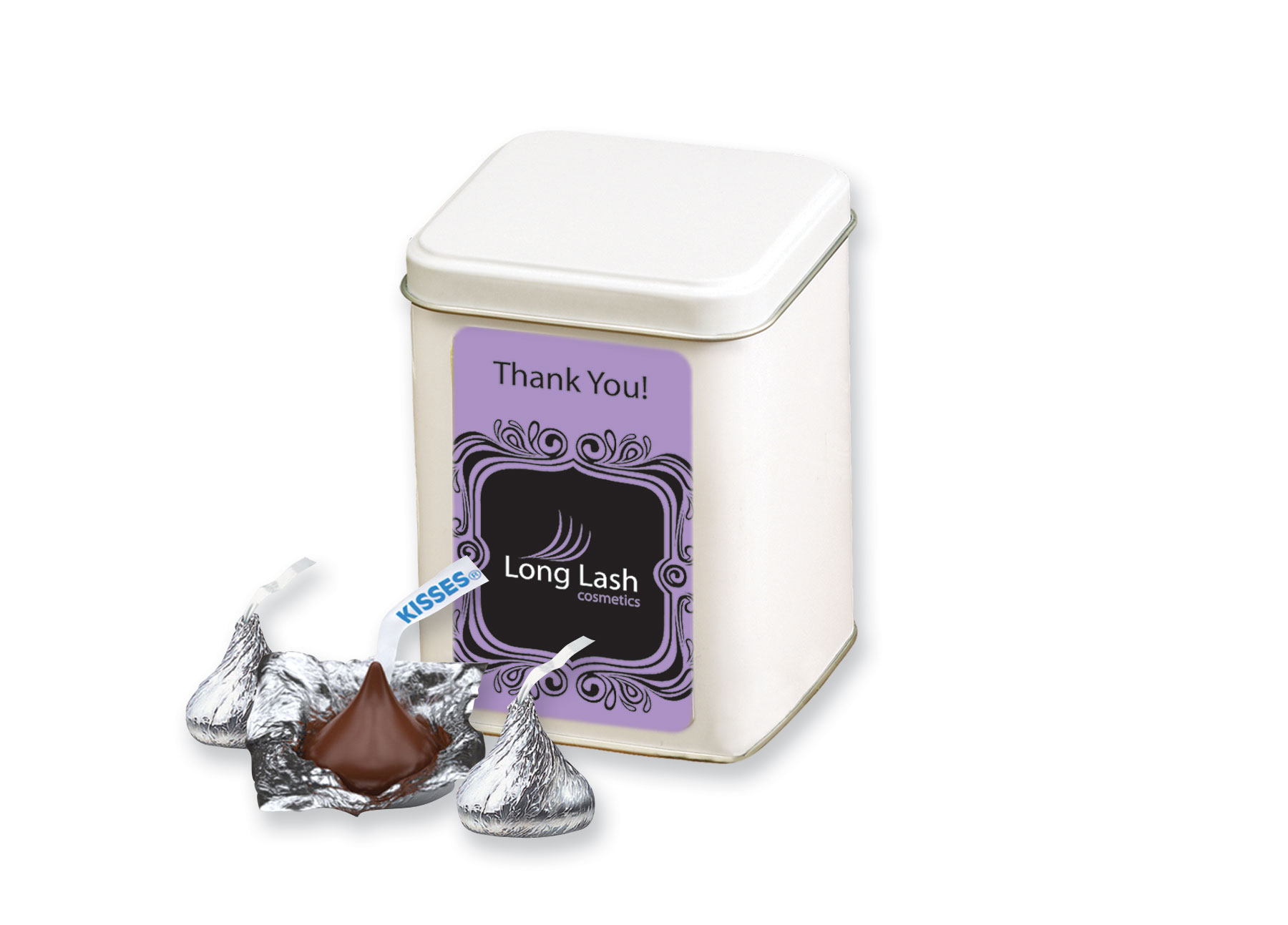 Hershey's Chocolate Kisses in Canister, 420-CKSS, Full Colour Imprint