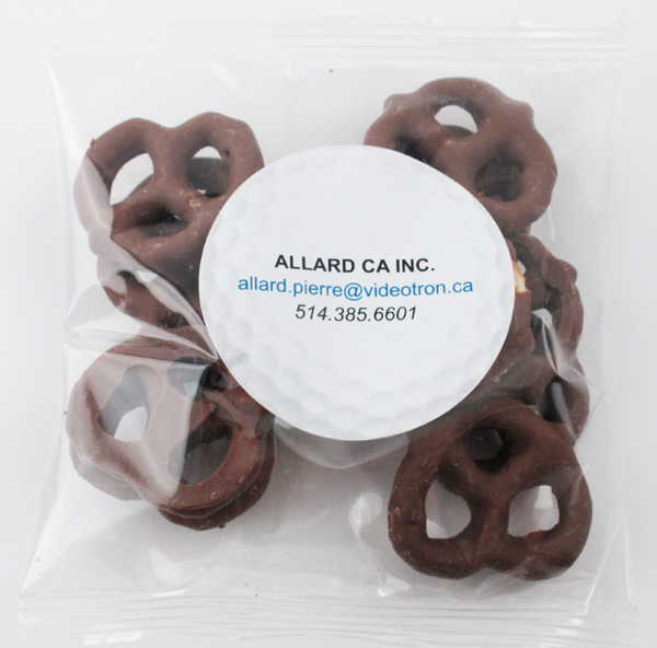 2 Oz. Handfuls of Milk Chocolate Mini Pretzels, HF-MMP, Full Colour Imprint