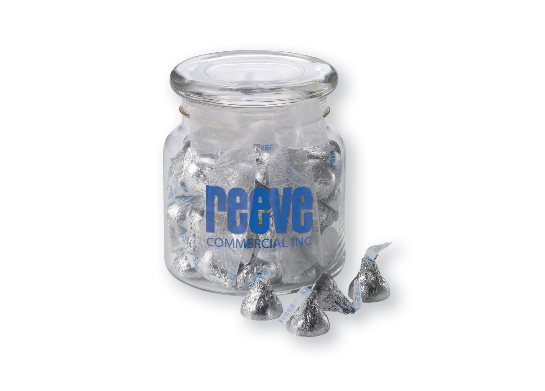 22 Oz. Glass Jar w/ Hershey's Chocolate Kisses, G220-CKSS, One Colour Imprint