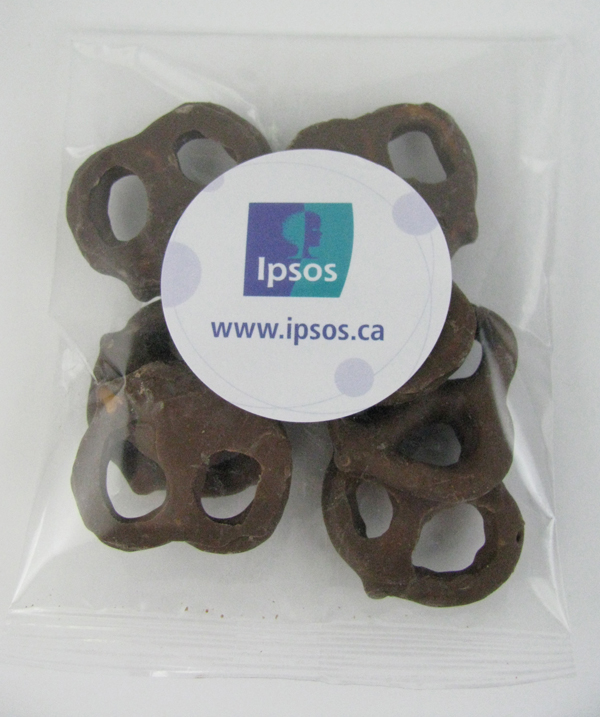 1 Oz. Goody Bag Milk Chocolate Mini Pretzels, GB-MMP, Full Colour Imprint