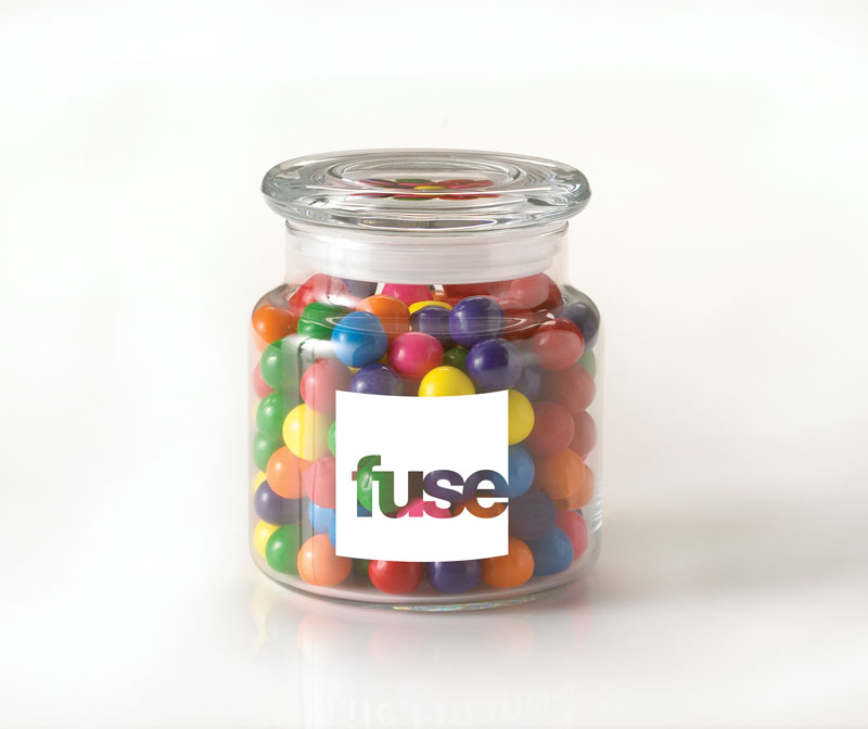 22 Oz. Glass Jar w/ Personalized Candies, G220-PERSONALIZEDCANDIES, One Colour Imprint