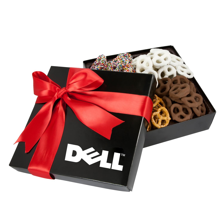 4 Delight Gift Box w/Assorted Mini Pretzels, 4CGB-PRET, One Colour Imprint