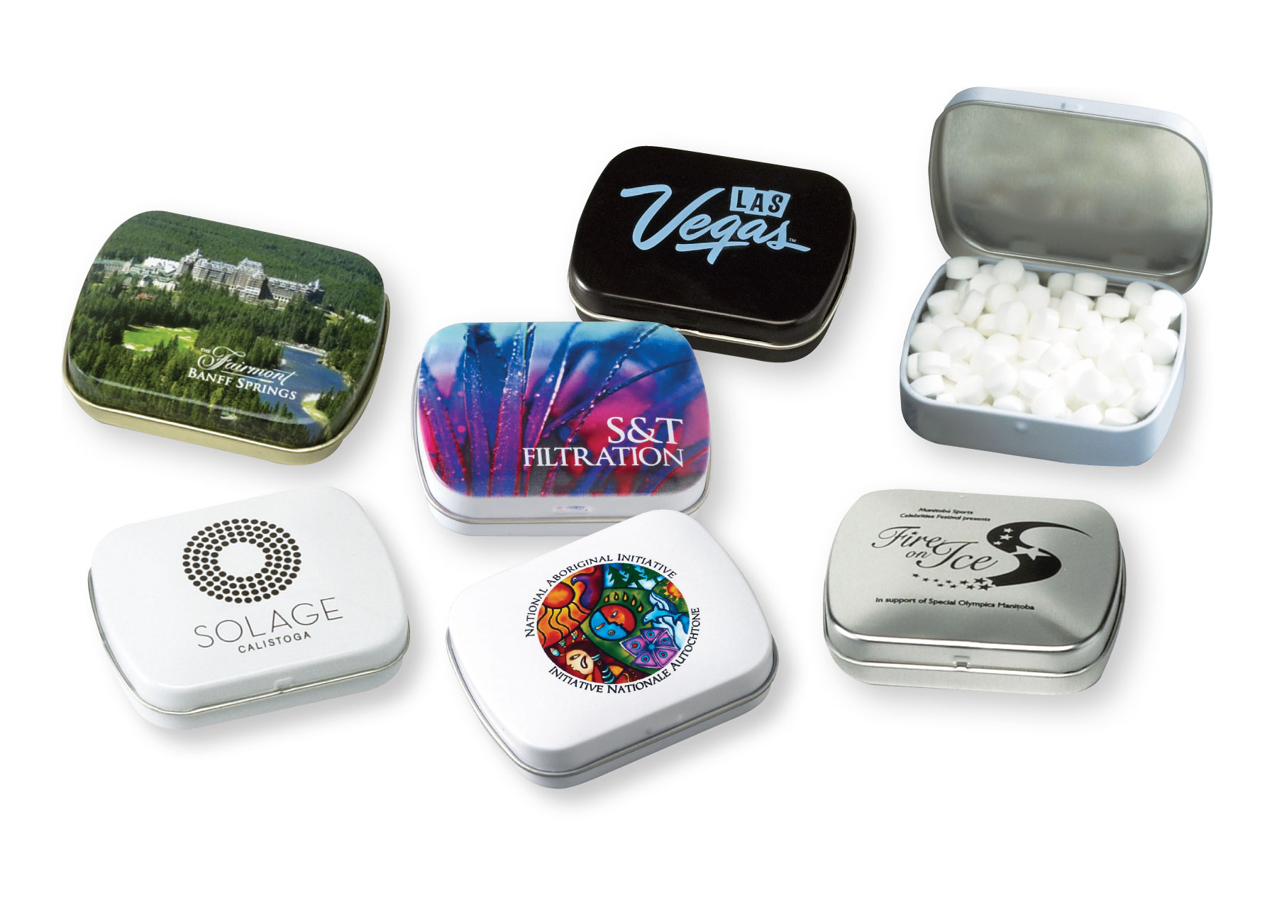 Domed Tin w/Sugar-Free MicroMints, 300-MICROMINTS, Full Colour Imprint (White Tin)